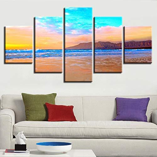 adgkitb canvas Wand Drucke Bild Ozean Landschaft Fünf Stücke Landschaft Kombination Decor Strand Meerblick Home Bed Hintergrund
