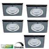 PB-Versand Spot à intensité avec cadre en verre | Lot de 5Plafond Spot | Montage Leuchten carrée–Noir | inclus ampoule Led 5x GU105,8W