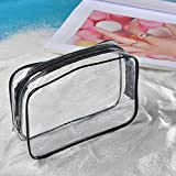 Transer® Transparente Make-up-Taschen Clear PVC Travel Portable Wasserdichte Kosmetiklagerung Toilettenartikel Tägliche chemische Produkte Organizer (C: 18X4X14CM)