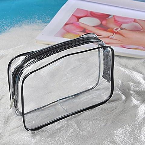 Transer® Transparente Make-up-Taschen Clear PVC Travel Portable Wasserdichte Kosmetiklagerung Toilettenartikel Tägliche chemische Produkte Organizer (C: (Stapelbare Teile)