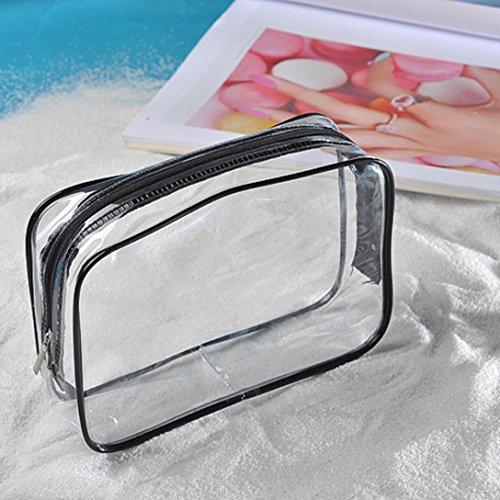 Transer® Transparente Make-up-Taschen Clear PVC Travel Portable Wasserdichte Kosmetiklagerung Toilettenartikel Tägliche chemische Produkte Organizer (C: 18X4X14CM) (Kleidersack Classic)