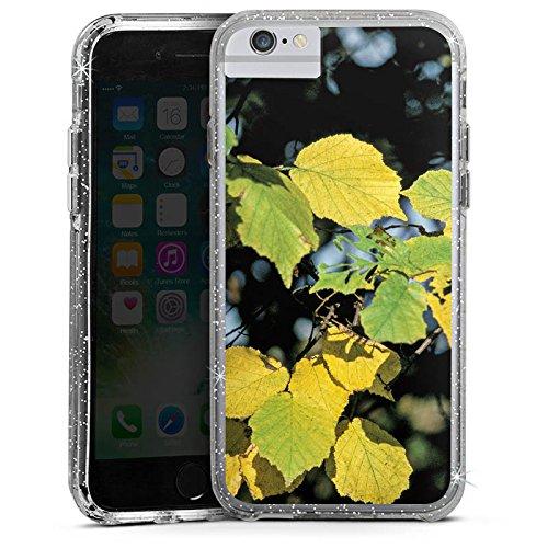 Apple iPhone 6s Plus Bumper Hülle Bumper Case Glitzer Hülle Blaetter Leaves Herbst Bumper Case Glitzer silber
