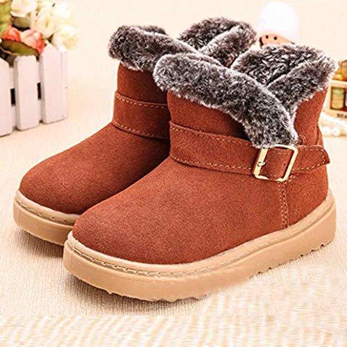Chaussures de bébé,Transer ® Mode Style d'enfants cuir coton bottes neige chaude martre bottines Marron