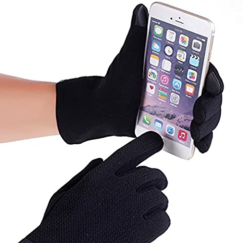Hokonui Men's Winter Thermal Knitted Gloves Outdoor Walking Cycling Driving Touchscreen Gloves for Smart Phone(Black)