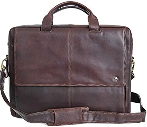 VISCONTI SUPERIOR QUALITY BROWN LEATHER WORK BUSINESS LAPTOP CASE ML24, NEW !!