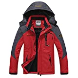 Softshelljacke Herren Gefüttert Funktionsjacke Wasserdicht Atmungsaktiv Wandern Outdoor Jacke Winter Skijacke Rot, Gr. EU-XXL/Asia-4XL