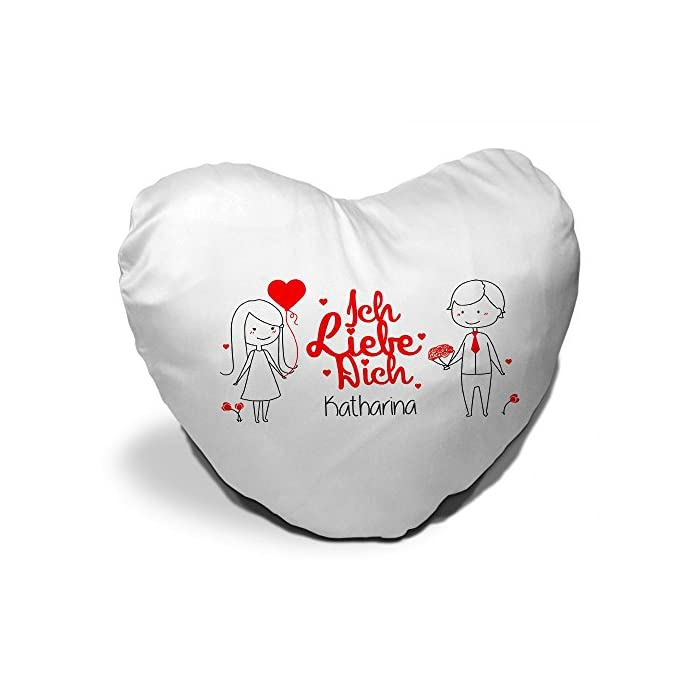 Herz-Kissen mit Namen Katharina und Spruch - Ich liebe dich - mit Liebespaar zum Valentinstag   Herzkissen für Verliebte   Kuschelkissen in Herzform 1