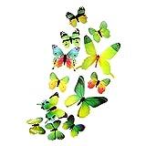 DEKOWEAR 3D Schmetterlinge realistisch 12er Set Wanddekoration mit Klebepunkten zur Fixierung Wandtattoo Wandsticker Wanddeko Grün