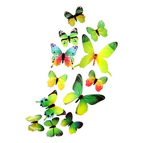 Dekowear 3d farfalle insieme realistica di 12 decorazione della parete con i punti adesivi per fissare a parete decorazione della parete della decalcomania della parete (verde)