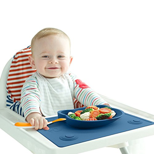 Baby High Chair Feeding Placemat – Portable Meal Tray / Infant Led Weaning Bowl with Extra Suction Pads ensuring No Mess – BPA & Toxic Free 51W99NuM7DL