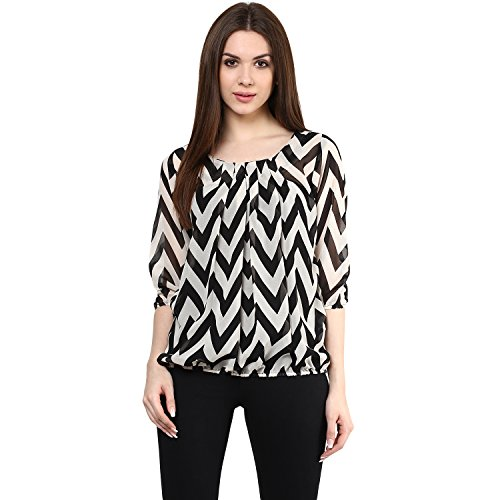 Mayra Women's Striped Regular Fit Top (Z1608T09524!_Black!_Medium)