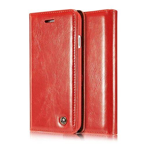 iPhone 5S Hülle, CaseMe PU Leder schutzhülle Handy Tasche Hülle case cover mit Karte Halter Magnetverschluss für iPhone SE/5/5S (rot) (Phone I Halter 5s-cover Mit Karte)