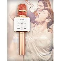 PRIXTON Micrófono-Altavoz Karaoke BT Oro Rosa
