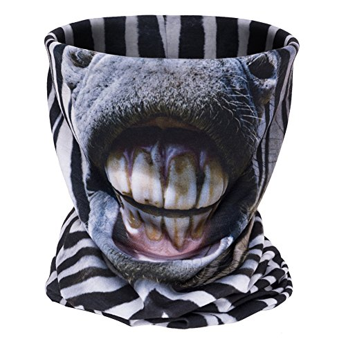 Aiyuda 3D Multifuncional Tubo de cuello Motocicleta Todo sobre la impresión Pañuelo Gaiter de cuello Delgado Esquí Máscara Venda (Cebra)