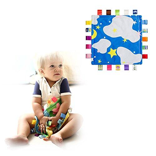 Baby-Sicherheitsdecke mit Tags - Soft Touch Plüsch Tröster, Besänftige Tuch für Baby-Kind-Kleinkinder Schlaf Helper, Blau -