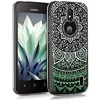 kwmobile Funda para Huawei Y625 - Case para móvil en TPU silicona - Cover trasero Diseño Sol hindú en menta blanco transparente