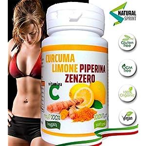Curcuma e Piperiana Plus zenzero limone vitamina C- 130 cpr-Antiossidante Dosaggio Naturale di estratto Curcumina… 7 spesavip