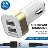 iVoltaa 3.4A Dual Port Car Charger with Type-C Cable - White