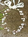 handmadejewelrylady oro rosa hojas pelo boda accesorios para el pelo novia pelo joyas para mujeres accesorio para la cabeza Tiara Novia diadema
