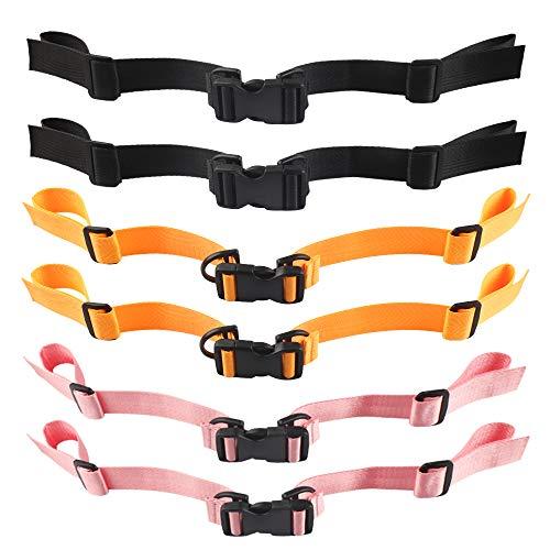 6 Stück Brustgurt für Rucksack Schulranzen Schulrucksack Kinder Verstellbar Universal Brustgurt aus Nylon mit Schnalle zum Jogging und Wandern (Schwarz Rosa Orange)