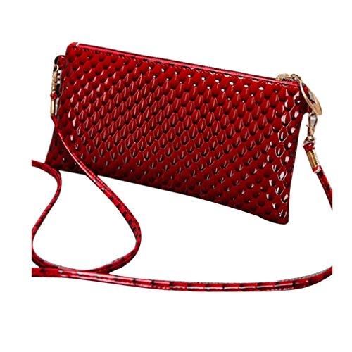 Kolylong Mode féminine en cuir PU sac a main bandouliere épaule Messenger Bag pour fête banquet cocktail (22cm(L)*12cm(H)*1.5cm(W), Rouge)