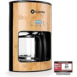 Klarstein Bamboo Garden Machine à café (style écolo avec carafe 1,25L pour 12 tasses, plaque de chauffage, 1800W, minuterie intégrée, écran LCD) - bambou