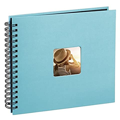 Hama Fine Art photo album, 50 black pages (25 sheets), spiral album 28 x 24 cm, with cut-out window in which a picture can be inserted, turquoise