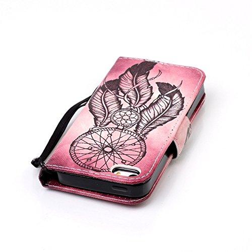 iPhone 5S Brieftasche,iPhone SE Flip Case Cover, Aeeque® Glitzer Luxus [Schwarz Gold Spleiß Stil] Kartenfach Standfunktion Handytasche für iPhone 5/5S/SE mit Abnehmbar Handy Lanyard und Weich Silikon  Bild Vintage Traumfänger
