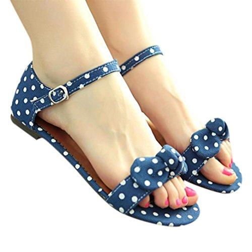 Elecenty Sandalen Damen,Sommerschuhe Frauen Tupfen Drucken Knöchelriemchen Sommer Schuhe Bowknot Schuh Damenschuhe Shoes Sandaletten Dame Fläche Offene Freizeitschuhe Strandschuhe (38, Blau) (Flache Schuhe Blau)