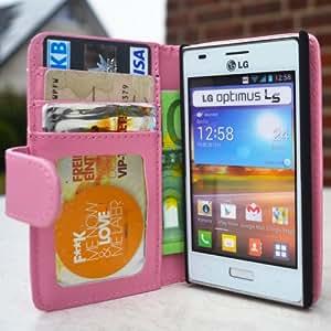 youcase - LG Optimus L5 E610 Tasche Flip Case Schutz Hülle Wallet Brieftasche EC-Karte Klapptasche Magnet pink