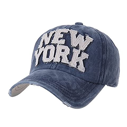 WITHMOONS Casquette de Baseball Baseball Cap Washed Distressed Trucker Hat New York DW1516 (Blue)