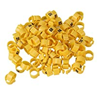 homswitch Plastic ID 9.5mm Pigeon Parrot Chicks Duck Birds Numbered Leg Bands Clip Rings for Birds Supplies Pack of 100 (Yellow)