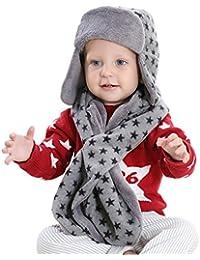 Y-BOA Bonnet Set De 3pcs Enfant Écharpe Gant Péruvien Unisexe Étoile Chaud Gris Earflap Hiver