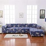 Jian Ya NA L-Form-Stretch Sofabezüge Polyester Spandex Stoff Slipcover 2ST Polyester-Gewebe Stretch Slipcovers + 2pcs Kissenbezüge für modernes Schnittsofa Dunkelblau