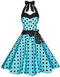Zarlena Damen 50er Retro Rockabilly Pola Dots Petticoat Neckholder Kleid Türkis mit schwarzen Dots Medium 906-M