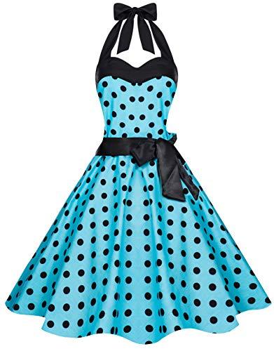 Zarlena Damen 50er Retro Rockabilly Pola Dots Petticoat Neckholder Kleid Türkis mit schwarzen Dots Large 906-L (Kleider Damen Türkis)