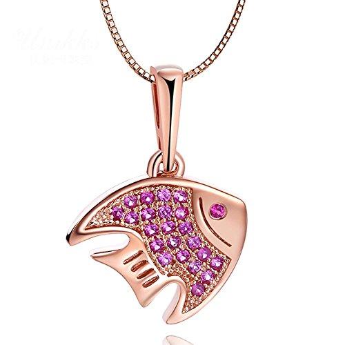 XYLUCKY 14 K rose gold natürlichen Rubin Anhänger Halskette 50cm verstellbar 3D-Fische -