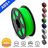 SUNLU ABS Filaments for 3D Printer, Green ABS Filament 1.75 mm,Low Odor Dimensional Accuracy +/- 0.02 mm 3D Printing Filament,2.2 LBS (1KG) Spool 3D Printer Filament for Most 3D Printers&3D Pens,Green