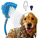 Beinhome Haustier Duschkopf Haustier Badewerkzeug Duschkopf für Hunde mit Bürste, 7.5 Fuß PVC Schlauch und 2 Schlauchadapter für Hund, Katze