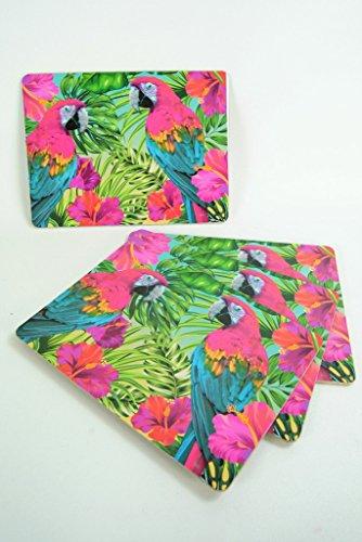 Vier Seasons- Set von 4Tischsets Tropisches Paradies Macaw Papagei hell rosa grün gelb Gedeck Hibiskus Blume - Paradies 4 Stück Set