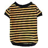 KINGDUO Hund-Shirt Mode Sommer Haustier Hund Klassische Breite Streifen T-Shirt Doggy Kleidung Baumwolle Haustier T-Shirt-XL-Gelb