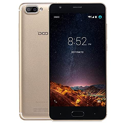 Smartphone ohne Vertrag, DOOGEE X20L Dual SIM 4G-LTE Handy, Android 7.0 5 Zoll HD IPS Touch Display, MT6737 4xCortex-A53, 2GB +16GB, Dual 5.0MP Kamera, GPS, Wifi, Bluetooth 4.0 - Gold