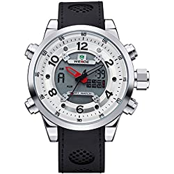 Alienwork DualTime Analogue-Digital Watch Chronograph LCD Wristwatch Multi-function Polyurethane white black OS.WH-3315-2