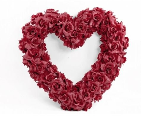 n-Herz-Kranz mit roten Rosen 50 cm für die Motorhaube zur Hochzeit mit zwei roten Rosen-Türschleifen (Rote Herz Kranz)