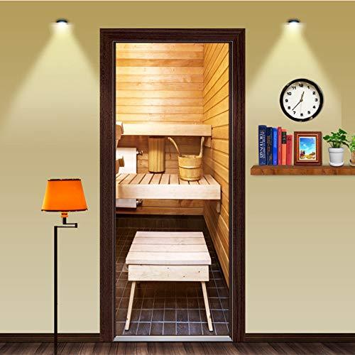 ZHLLNB817 Badezimmertür Aufkleber Selbstklebende Peel Und Stick Sauna 3D Tür Wandbild Funny Home Decoration DIY Kunst Aufkleber Wasserdicht 77X200 cm (Sauna Diy)