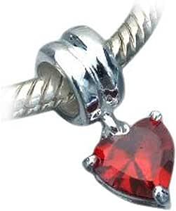 """Andante-Stones 925 Perlina d'argento Bead Charm pendenti """"di cristallo a forma di cuore"""" (rosso) Ciondolo da donna Charm per bracciali europei + Sacchetto di organza"""