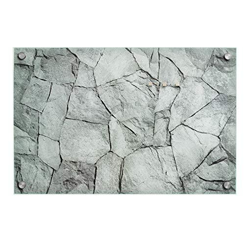 casa pura Design Magnettafel | Glas Memoboard mit Stein Motiv | Sicherheitsglas | beschreibbar | Inklusive 3 Magnete | Verschiedene Größen (40x60 cm)