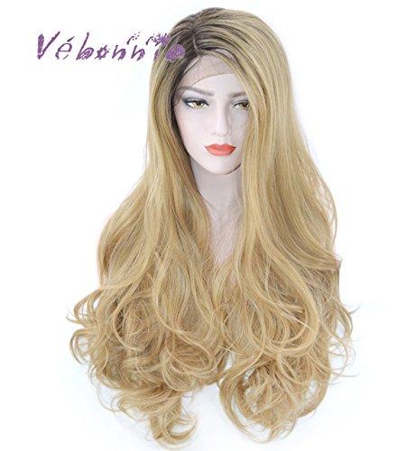 (vébonnie Fashion Ombre Blonde Lace Front Perücken für weiß Frauen Braun Wurzeln Honig Blond gewellt Perücken Best Synthetisches Haar sehr natürlich aussehen perfekt für Party und Cosplay Best Günstige Perücken 61cm)
