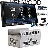 VW Polo 9N3 - Kenwood DMX100BT - 2DIN Bluetooth | USB | MP3 | 7' TFT Autoradio - Einbauset