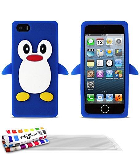 Flip-Case APPLE IPHONE 5S / IPHONE SE [Le Clap Touch Premium] [Weiss] von MUZZANO + STIFT und MICROFASERTUCH MUZZANO® GRATIS - Das ULTIMATIVE, ELEGANTE UND LANGLEBIGE Schutz-Case für Ihr APPLE IPHONE  Dunkelblau + 3 Displayschutzfolien